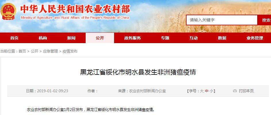 黑龙江绥化一存栏73000头生猪养殖场发生非洲猪瘟疫情