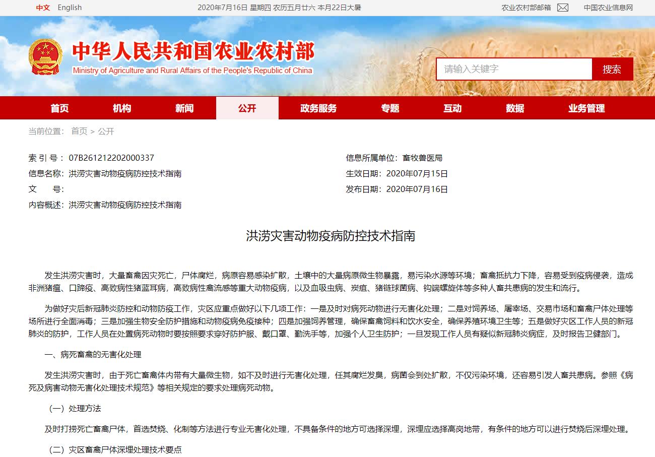 综合报道 丨 洪灾影响生猪出栏,农业农村部发表疫病防控技术指南